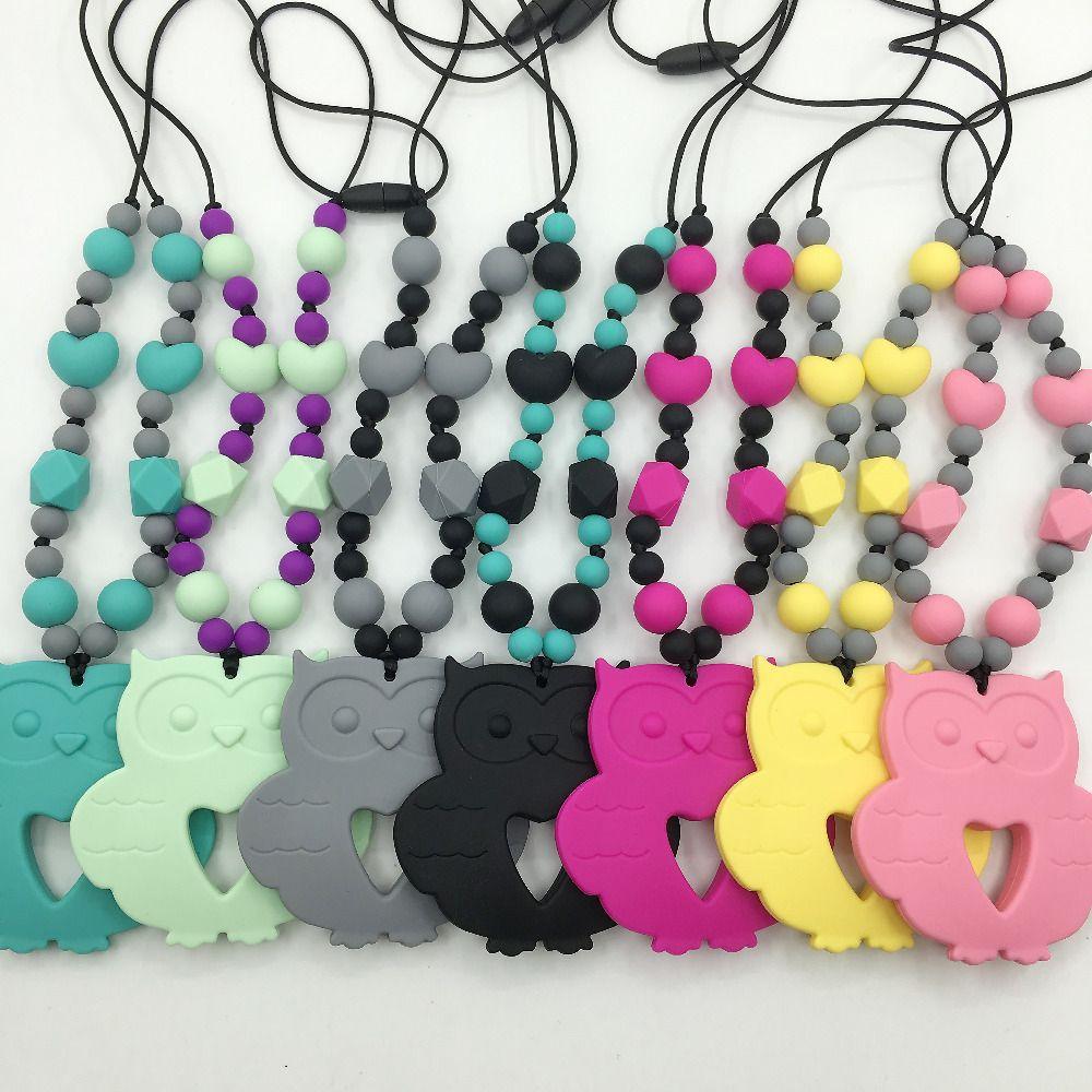 Прорезывания Зубов Ожерелье для мамы и ребенка, сделанные из безопасного, пищевой силикон сова кулон, ожерелье прорезывания зубов