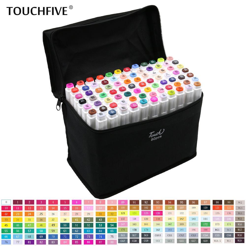 TouchFive 30/40/60/80 couleurs marqueurs ensemble double tête croquis marqueurs huileux à base d'alcool fournitures d'art professionnel pour le dessin