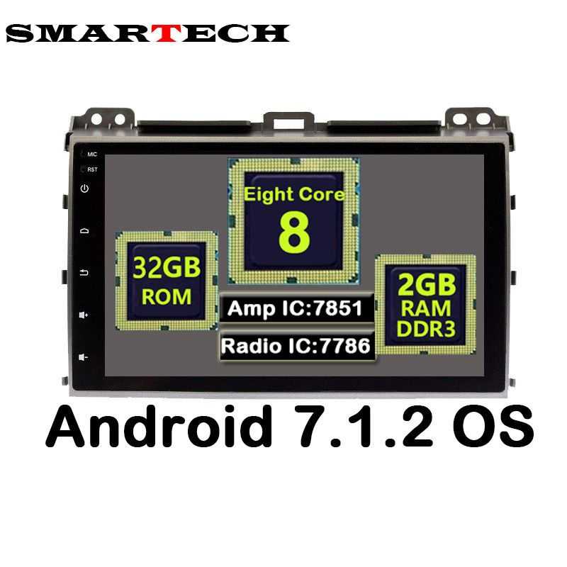 SMARTECH 9 Inch IPS Screen 8 Core 2 Din Android 7.1.2 Car Stereo Radio 3G Multimedia For Toyota Prado 120 Land Cruiser 2002-2009