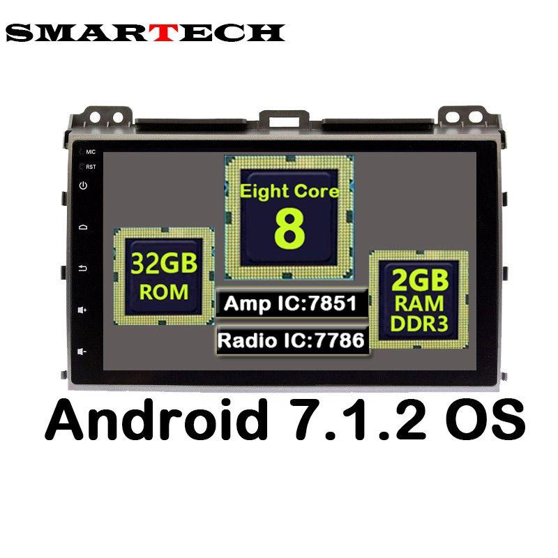 SMARTECH 9 Zoll Ips-bildschirm 8 Core 2 Din Android 7.1.2 auto Stereo Radio 3G Multimedia Für Toyota Prado 120 Land Cruiser 2002-2009