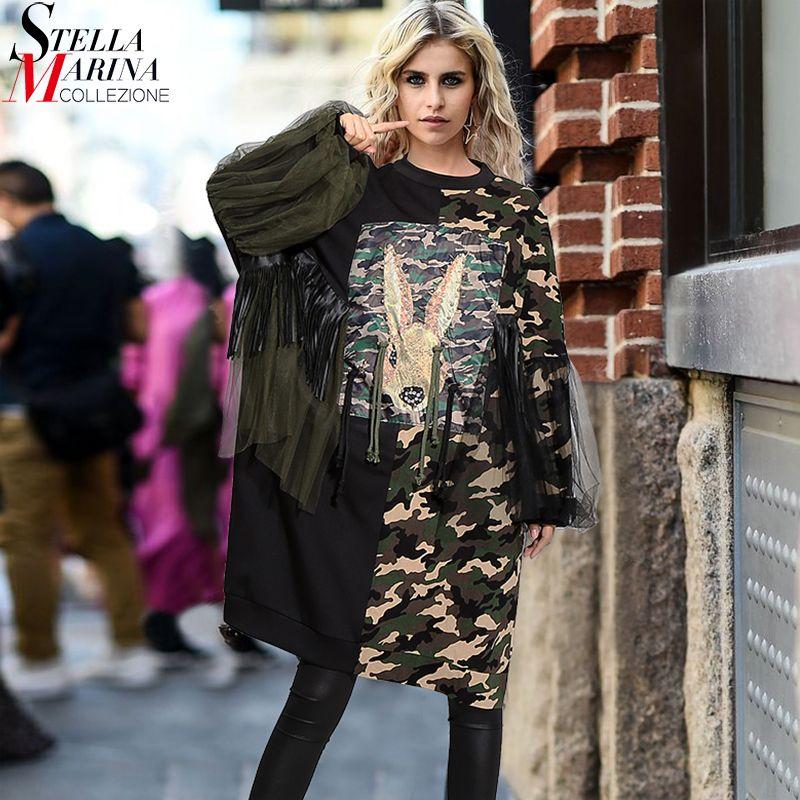 2018 Women Autumn Winter Plus Size Straight Black Midi Dress Rabbit Pattern Camouflage Patchwork Stylish Party Club Dresses 3113