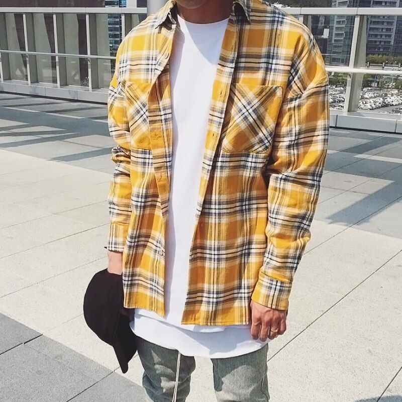 Hip Hop Long sleeved plaid oversized dress chemise homme male popular justin bieber hip hop men fog shirt mens unisex flannel
