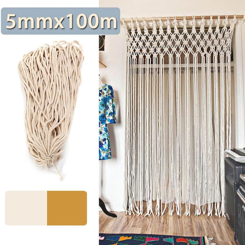 5mmx100m Braided Cotton Rope Twisted Cord Rope DIY Craft Macrame Woven String Home Textile Accessories Craft Gift