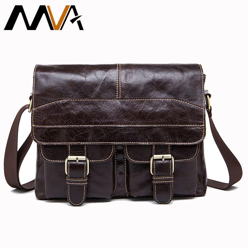 MVA Messenger Bag Men Genuine Leather Shoulder Bag for Men's Bags male Vintage zipper Man Crossbody Bags Promotion 9880