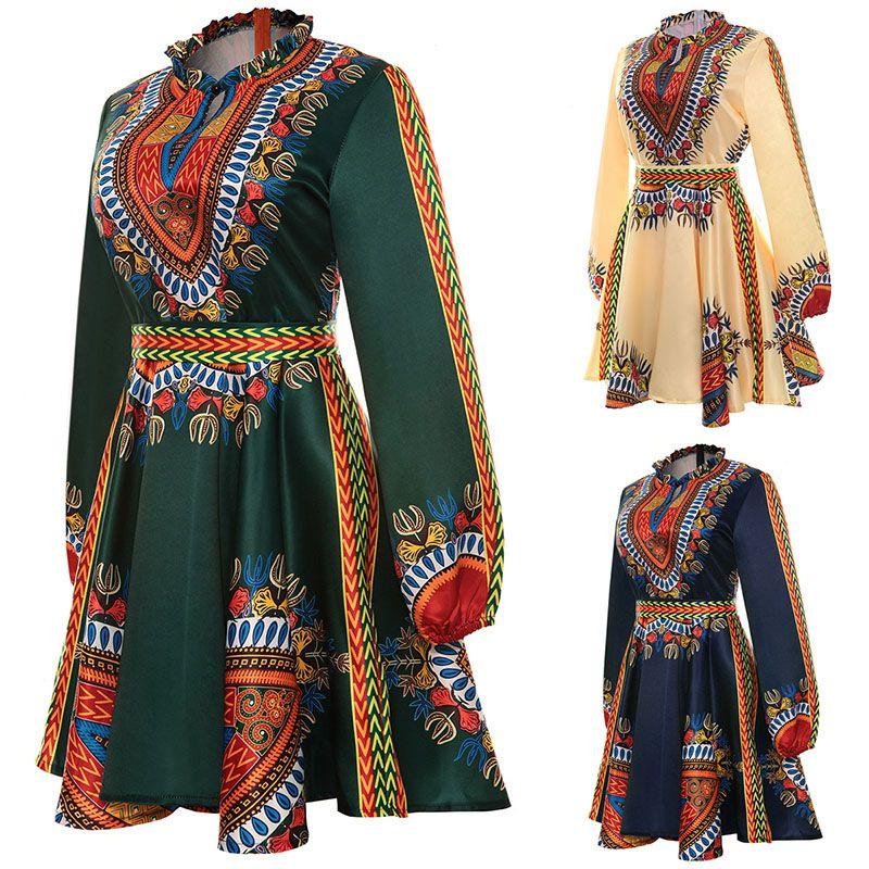 Adulte Femmes Africaine Dashiki Imprimer Robe Courte Avec Manches Longues Ruché Col Back Bet Cravate Robe Avant Fente Ouverte Porter pour Dames