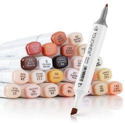 Artis Touchnew Marker Pens 24 Warna Blendable Spidol Alkohol Warna Kulit Set untuk Potret Gambar Ilustrasi