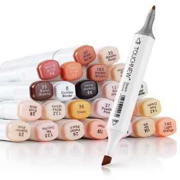 Artist Touchnew Marker Pens 24 Colours Blendable Alcohol Markers Skin Tone Set for Portrait Illustration Drawing