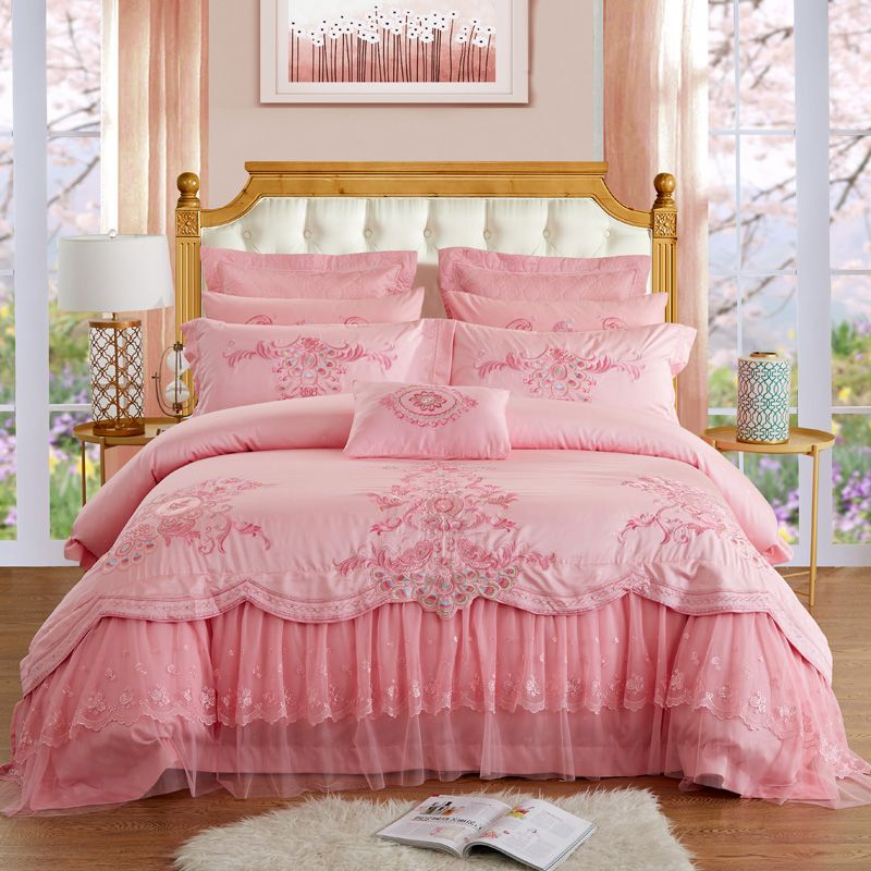 New Luxury Silk Cotton Jacquard Lace Wedding Bedding Set Embroidery Lace Duvet cover set Bed Sheet Queen King size 4/6/8/9pcs