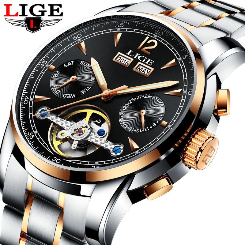 Для мужчин Часы Роскошные Лидирующий бренд lige Tourbillon механические Спортивные часы Для мужчин модные бизнес автоматические часы человек Relogio...