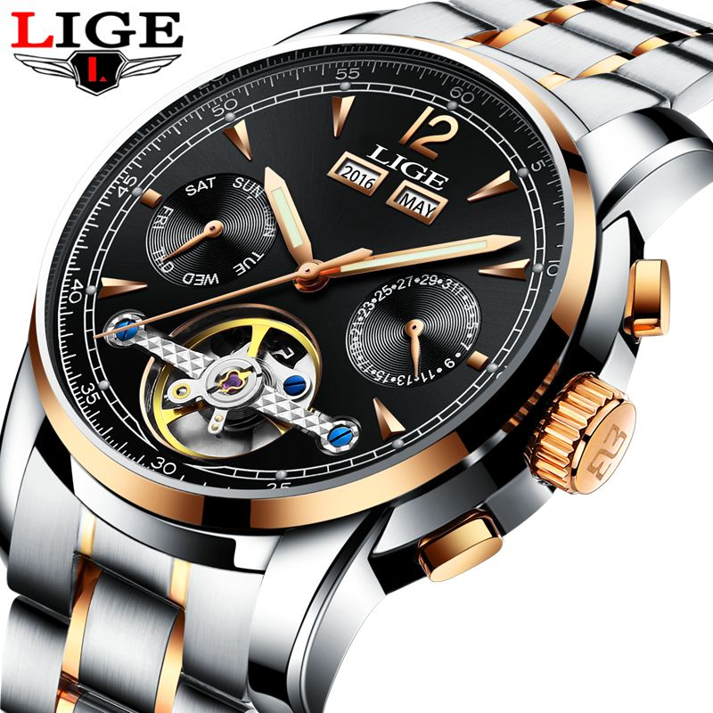 Men Watches Luxury Top Brand LIGE tourbillon Mechanical sports Watch Mens Fashion business Automatic watch Man Relogio <font><b>Masculino</b></font>