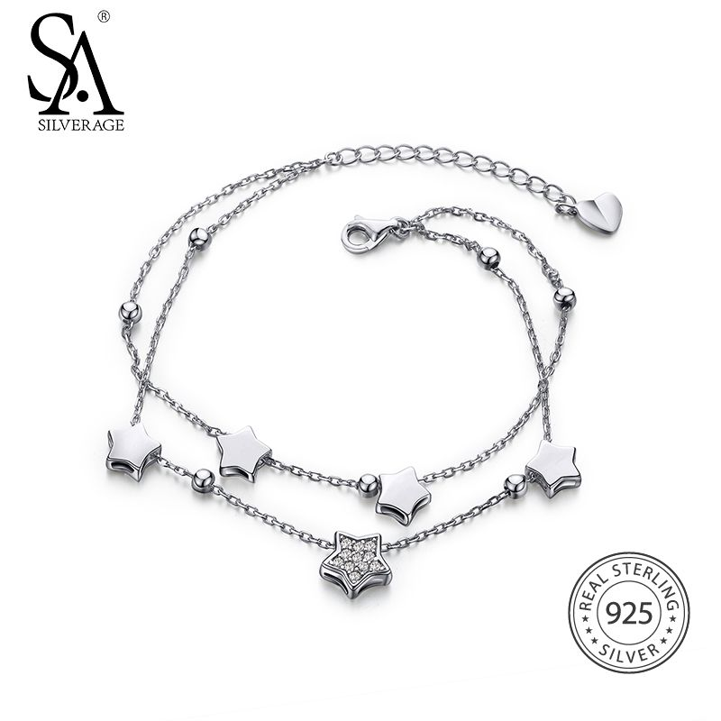 New Year Gift 925 Sterling Silver Star Bracelets & Bangles for Women Jewelry <font><b>Rhinestone</b></font> Two Layer Chain Link Bracelet Female