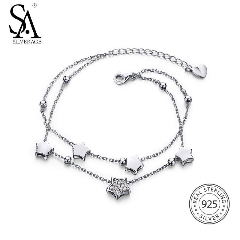 SA SILVERAGE 925 Sterling Silver Star Bracelets & Bangles for Women Jewelry Rhinestone Two Layer Chain Link Bracelet Female