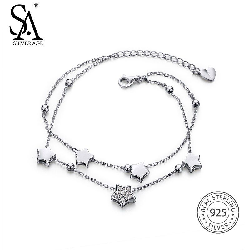 SA SILVERAGE 925 Sterling Silver Star Bracelets & Bangles for Women Jewelry Rhinestone Two Layer Chain Link Bracelet Female