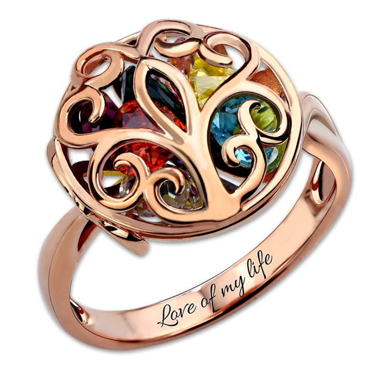 Personalized Customized Round Cage Ring Family Tree Birthstone Ring Family Jewelry <font><b>Rose</b></font> Gold Color