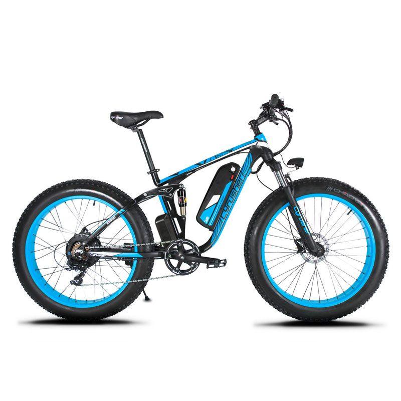 Cyrusher XF800 1000 W 48 V Elektrische Fahrrad Full Suspension rahmen 7 Geschwindigkeiten widewheel rennrad outdoor smart tacho Ebike