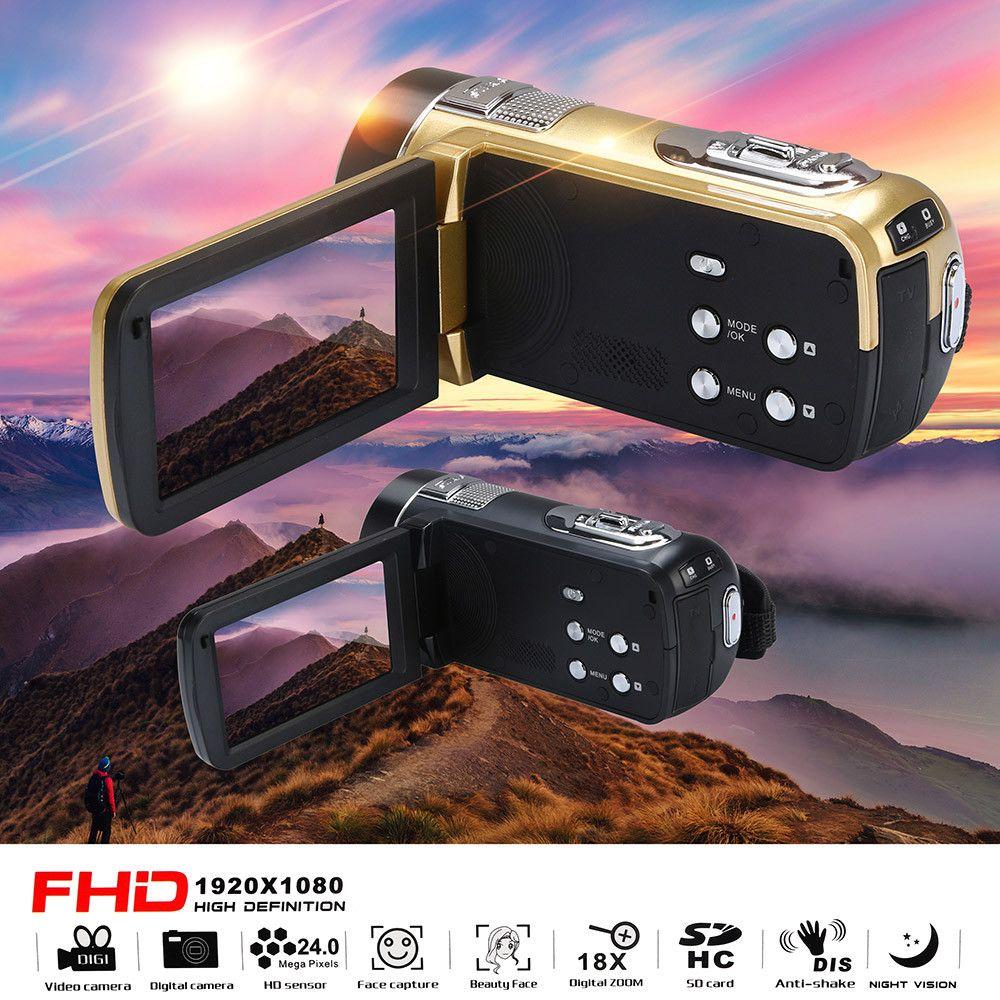 HIPERDEAL Mode 18X Zoom Numérique Infrarouge Vision Nocturne Caméscope HD 1080 p 24.0 MP Portable Appareil Photo Numérique Enregistreur DV