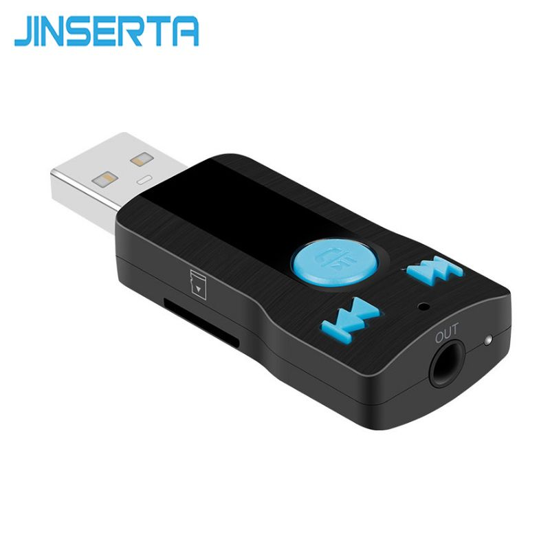 JINSERTA Wireless Car 3.5mm AUX Bluetooth Audio Receiver Adapter TF Music MP3 Player with Mic Handsfree