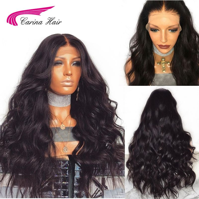 Carina Brazilian Remy Human Hair <font><b>Body</b></font> Wave Lace Front Human Hair Wigs With Baby Hair Around Cap Middle Part Pre-Plucked Hairline