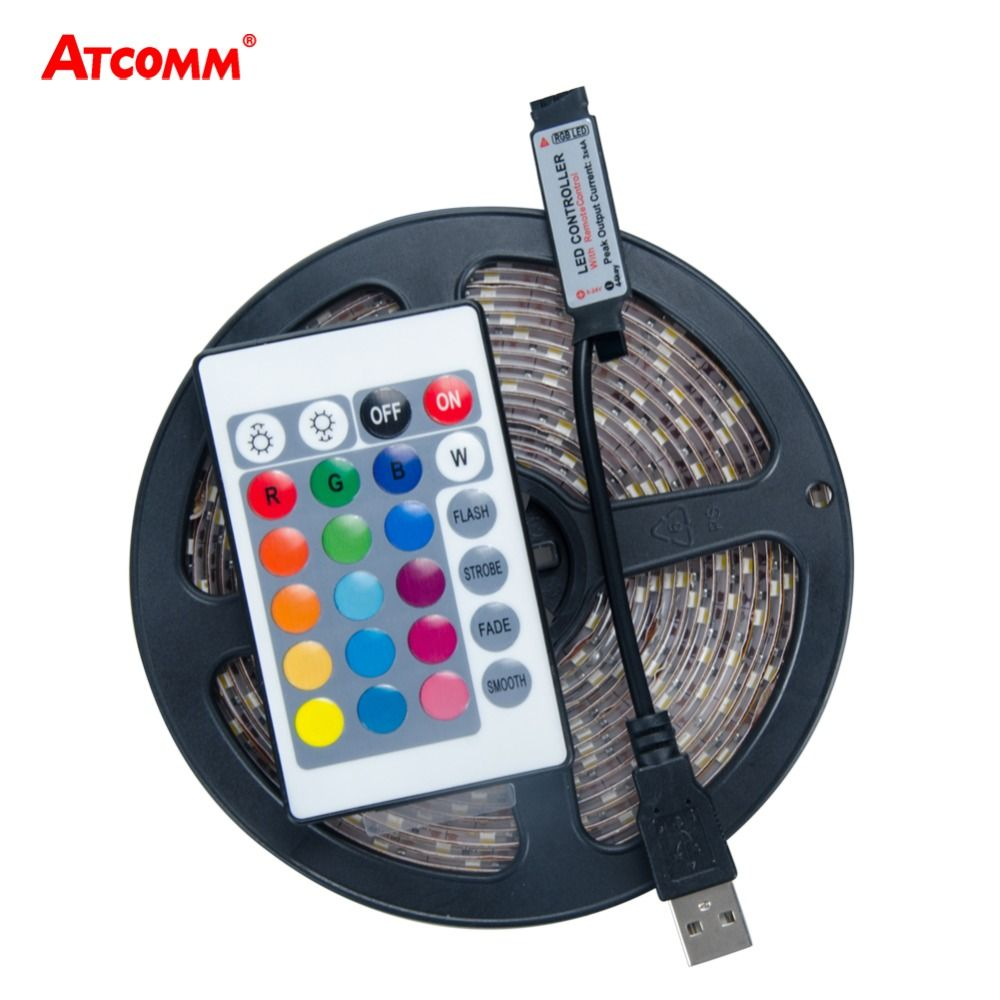 USB 5V 2835 RGB LED Strip Light 60 LEDs/Meter 0.5M 1M 2M 3M 4M 5M RGB LED Diode Ribbon Tape Light+24 Key RGB Remote Controller