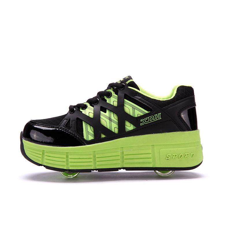 2017 Otoño de Los Niños Zapatos Deportivos para Niños Roller Ruedas Boy Zapatillas de Enmalle con Dos Ruedas Wheelys Zapatos Chica Hombres Verde