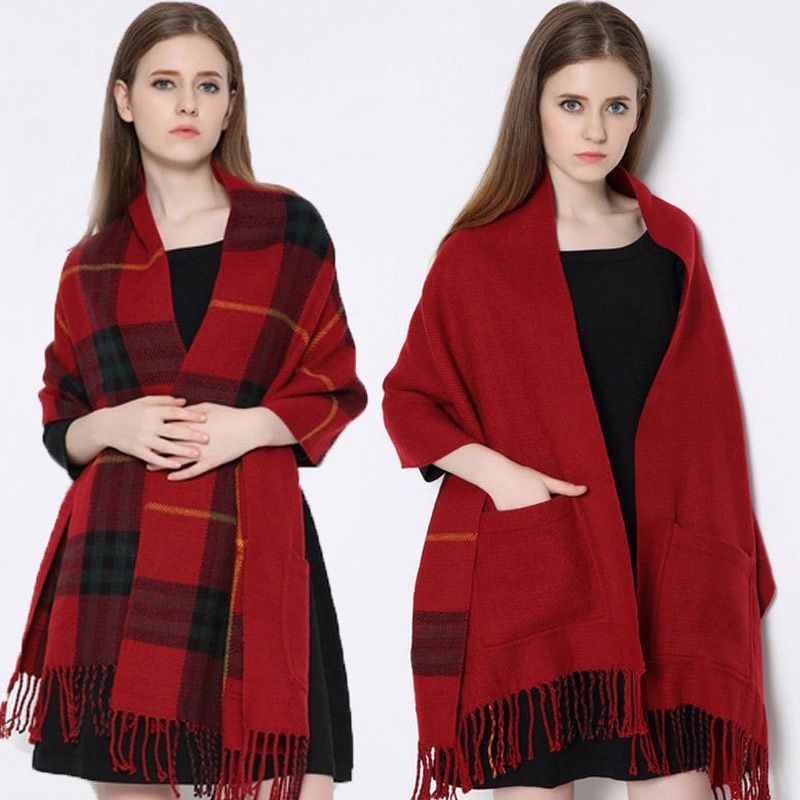 blanket Scarf Plaid Women Winter fashionable Cashmere faced Multifunction Thicken Warm cape Shawl wrap Oversized 200cm sq318