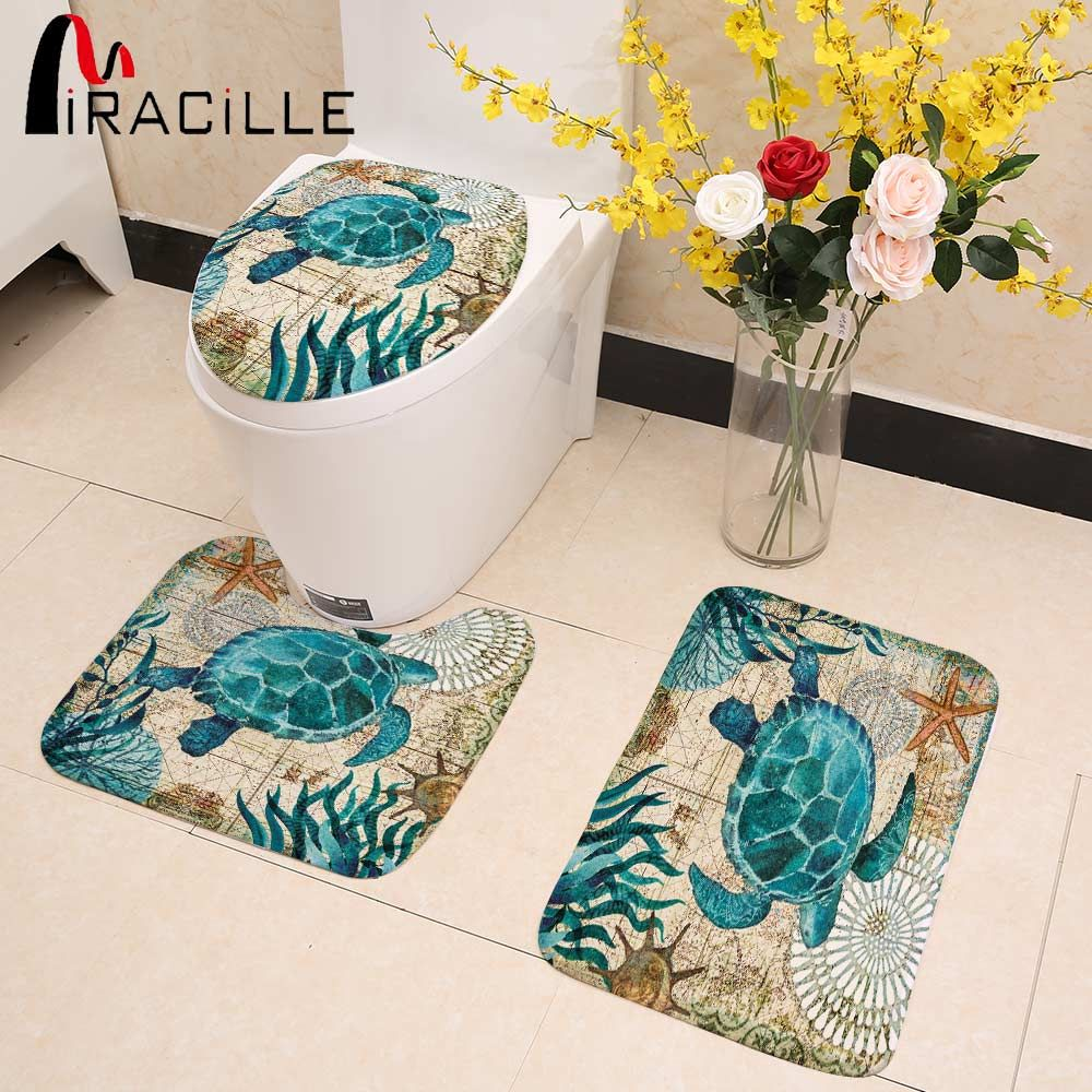 Miracille Marine Style 3 Pieces Set Toilet Seat Cover WC Set Sea Turtle Printed Bathroom Mat <font><b>Washable</b></font> Rug for WashingRoom