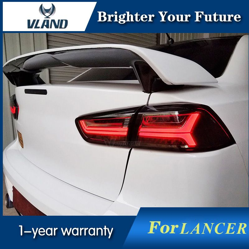 Vland LED Audi Style Tail Lights Lamps Smoke For Mitsubishi Lancer Tail Light Ex 2008-2017 Taillamp Signal light