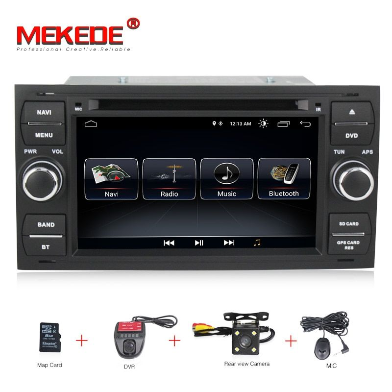 For Ford Mondeo S-max Focus C-MAX Galaxy Fiesta Form Fusion 2 DIN car DVD player Android8.0 with Free mic Fee shipping