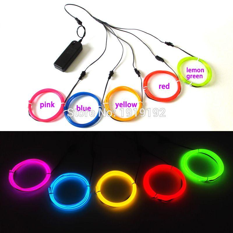 3.2mm 1 mètres multicolore DC3V EL câble de câble métallique néon Led fil lumière câble pour bricolage vêtements lumineux/accessoires décoration de fête