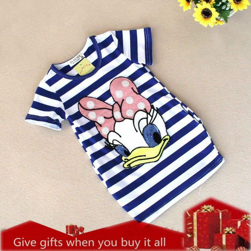 Filles robe marque enfants fille vêtements bande dessinée rayure motif Design été enfants vêtements princesse robes Vestidos 2-6 Y A122