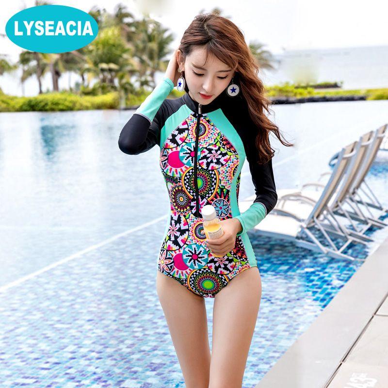 LYSEACIA Long Sleeve Swimwears for Women One Piece Swimsuit Zipper Rash Guards Slim Girl Summer Swimming Suit RASHGUARD Printed
