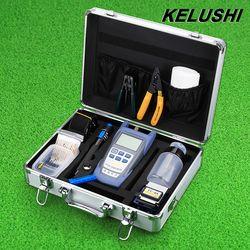KELUSHI FTTH Fibra óptica Kit de herramientas con Fibra óptica medidor de potencia y localizador Visual y cortador de Cable Stripper FC-6S cuchilla