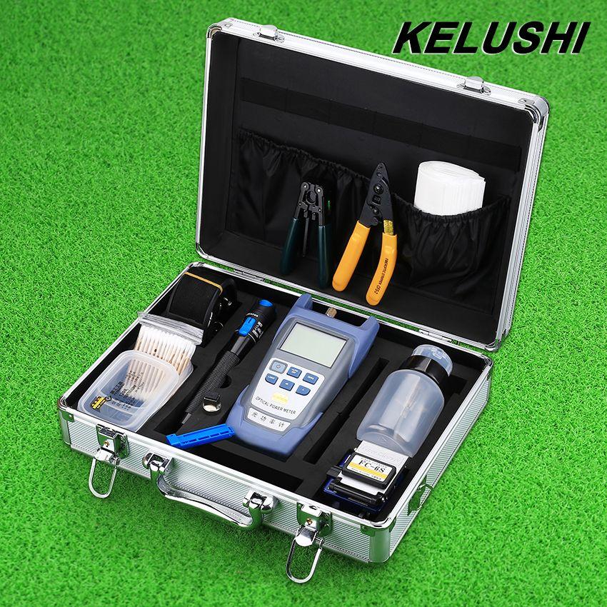 KELUSHI FTTH Glasfaser Tool Kit mit Fibra Optica Power Meter und Visual Fault Locator und Kabelschneider Stripper FC-6S hackmesser