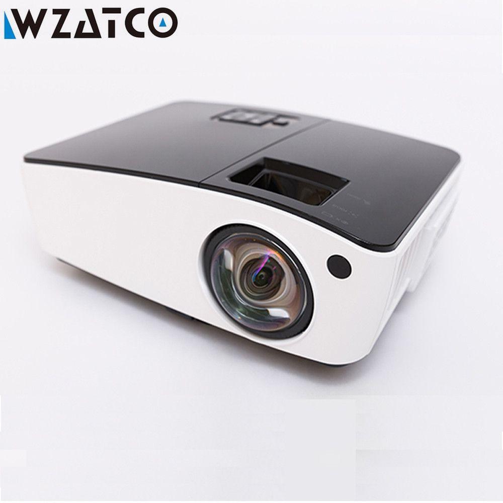 WZATCO Kurze werfen Projektor Tageslicht HDMI Home Theater 1080p volle HD 3D DLP Projektor Proyector beamer für kirche halle hotel