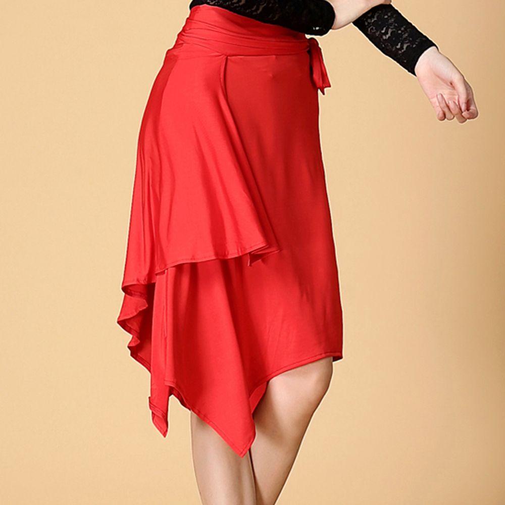 Señora Latin Dance Skirt Venta Rojo/Negro/Leopardo Cha Cha/Rumba/Samba/Vestidos de Tango para la Práctica Del Baile/Performamnce Dancewear