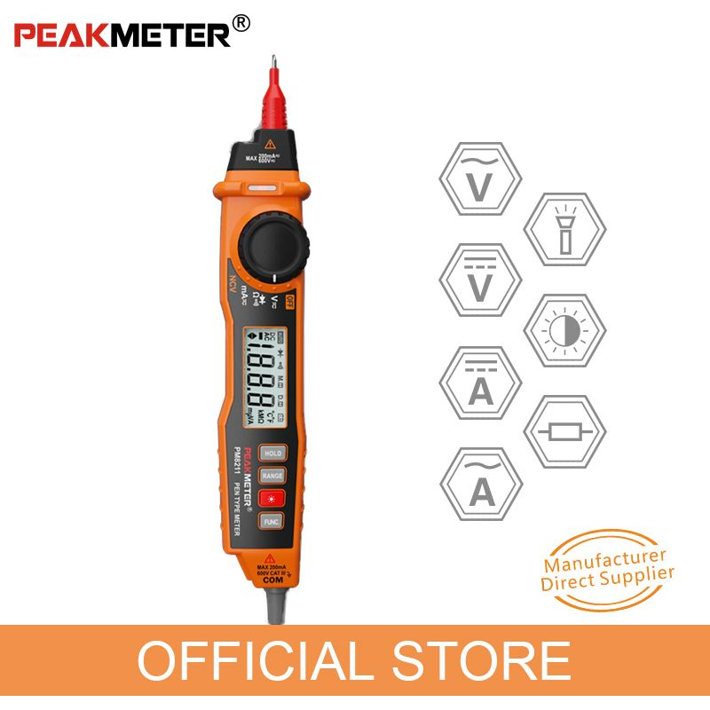 PEAKMETER MS8211 multimètre numérique 2000 compte Type de stylo avec testeur portatif électrique ACV/DCV sans Contact