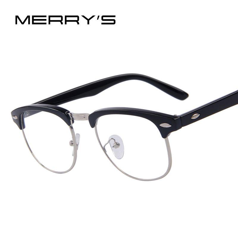 MERRY'S Classic Retro Clear Lens Men Eyeglasses Women Half Metal Half Metal Eyewear