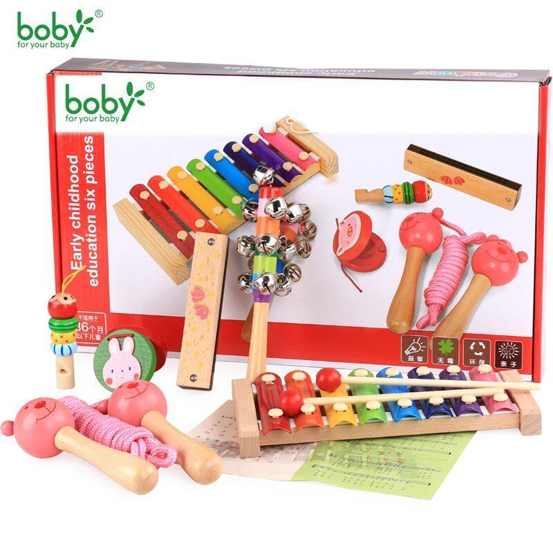 En bois Jouets Musicaux Pour Enfants Bébé Hochet Musique Bébé Jouets 0-12 Mois Éducative-6 pc Enfant Cadeau