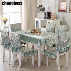 9 Pcs/set Bordir Bunga Taplak Meja dengan Kursi Dekorasi Pernikahan Taplak Meja Persegi Panjang Meja Makan Penutup Taplak Meja