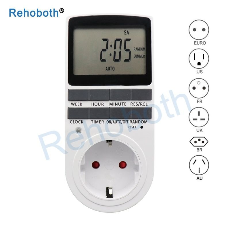Electronic Digital Timer Switch EU Plug Kitchen Timer Outlet 230V 50HZ 7 Day 12/24 Hour Programmable Timing Socket