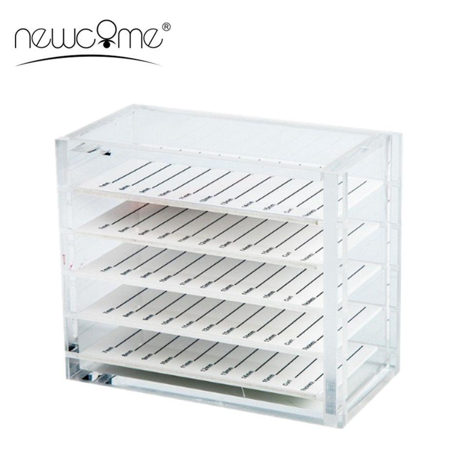 NEWCOME 5 couches Transparent Extension de cils boîte de rangement organisateur acrylique porte-palette porte-cils greffage affichage de cils