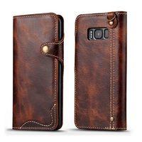 Solque Funda de cuero genuino Flip para Samsung Galaxy S8 más S 8 Cartera de teléfono casos de lujo Retro Vintage Correa imán caja de la tarjeta