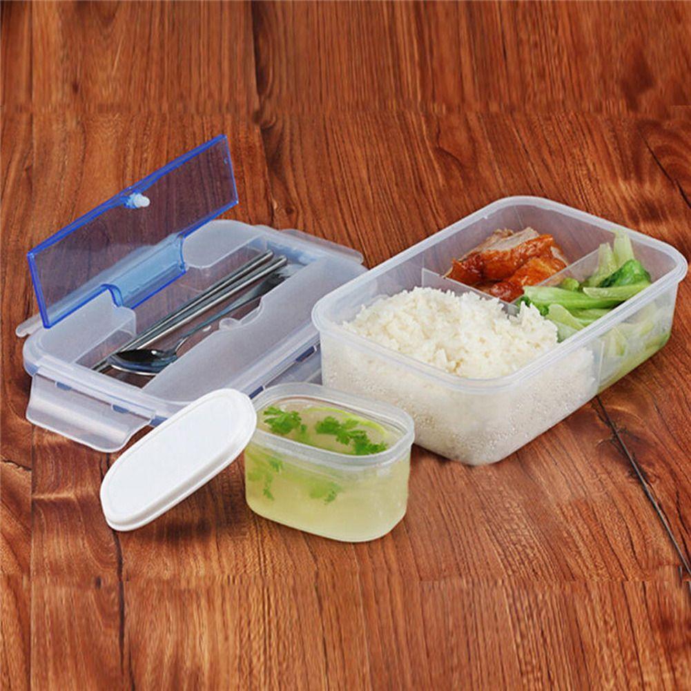 Microondas Caja de Almuerzo Bento Lunch Box Microondas Portátil Al Aire Libre Respetuoso Del Medio Ambiente con la Sopa Tazón Palillos Envases de Alimentos 1000 mL