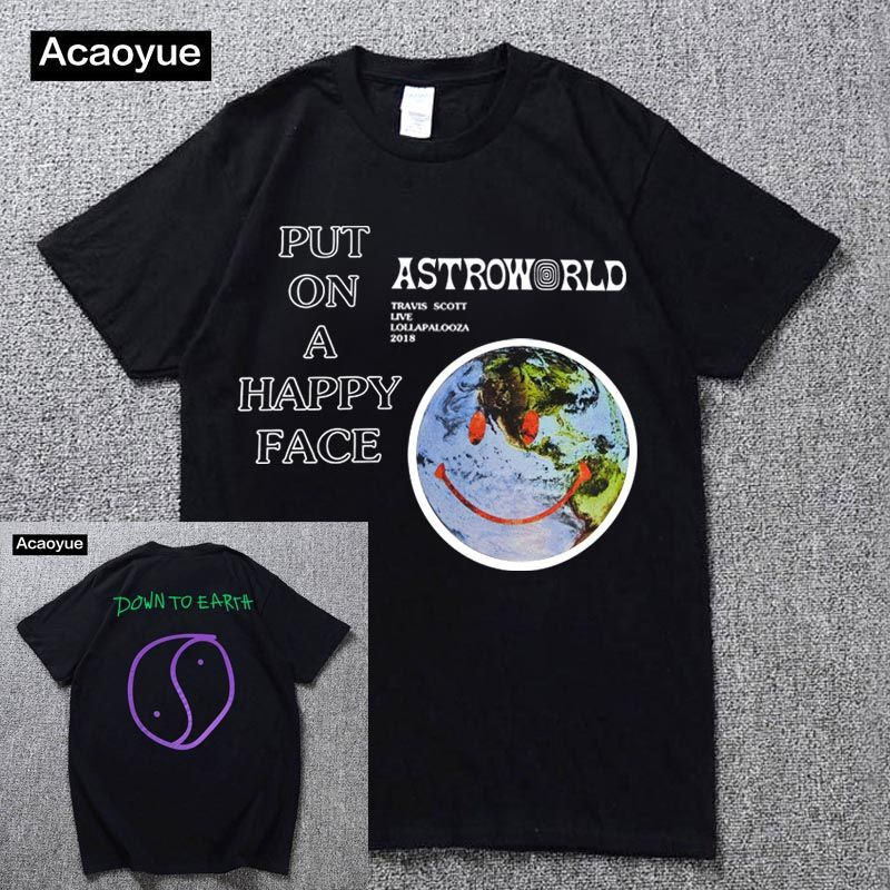 Travis Scott Lollapalooza Astroworld Smiley World T-Shirt Men's and Women's Summer Cotton T-Shirt Harajuku Hip Hop 2018