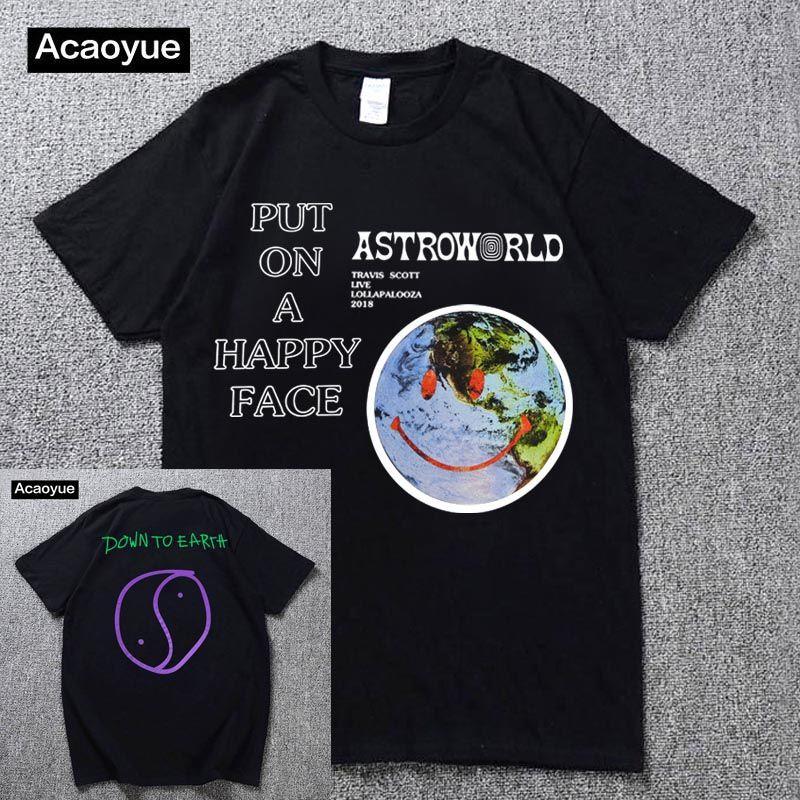 Travis Scott Lollapalooza Astroworld T-Shirt homme et femme été coton T-Shirt Harajuku Hip Hop 2018