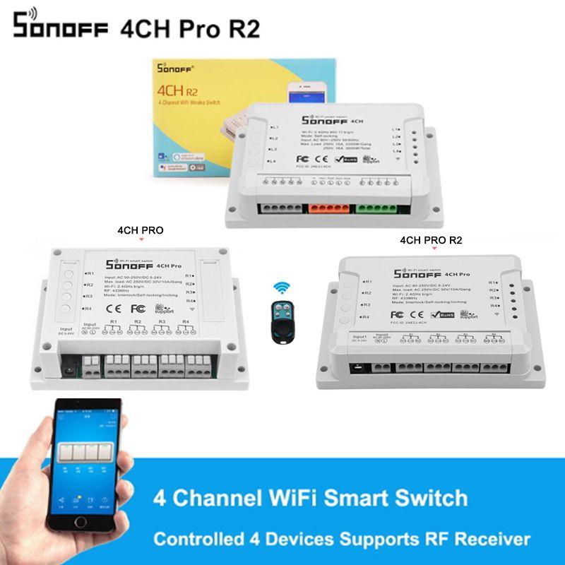 Sonoff 4CH Pro R2, commutateur intelligent de Wifi 433MHz RF commutateur de lumière de Wifi 4 gangs 3 Modes de fonctionnement Interlock Interlock maison intelligente avec Alexa