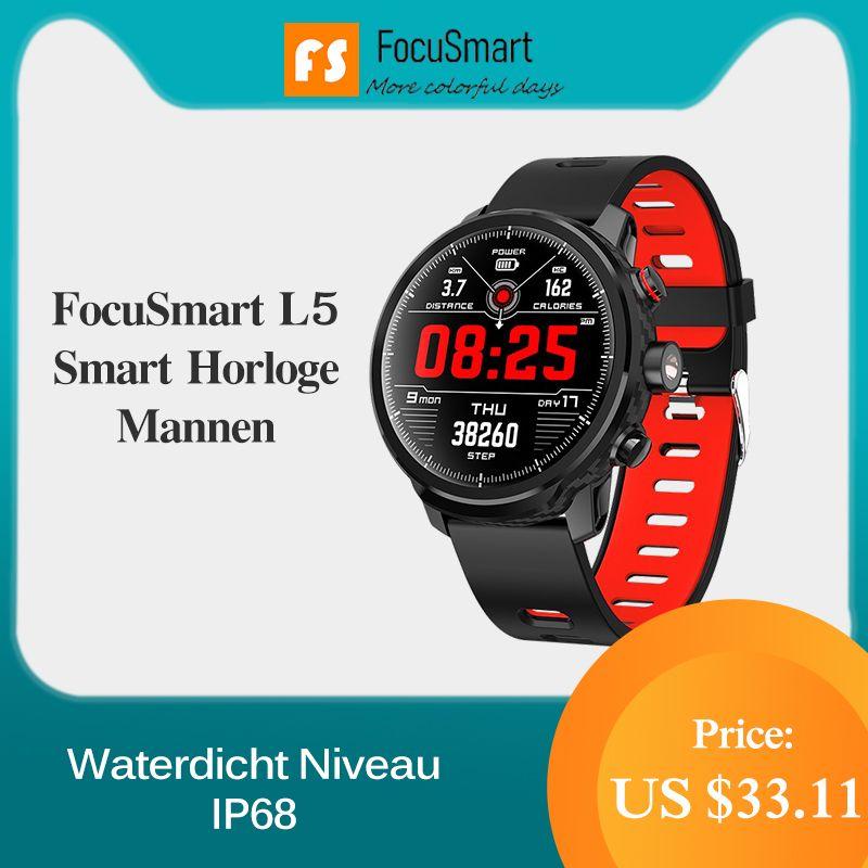 FocuSmart L5 Smart Uhr Männer 1,3 Zoll IP68 Wasserdichte Sport Smartwatch Aktivität Tracker Passometer Smart Uhr für IOS Andriod