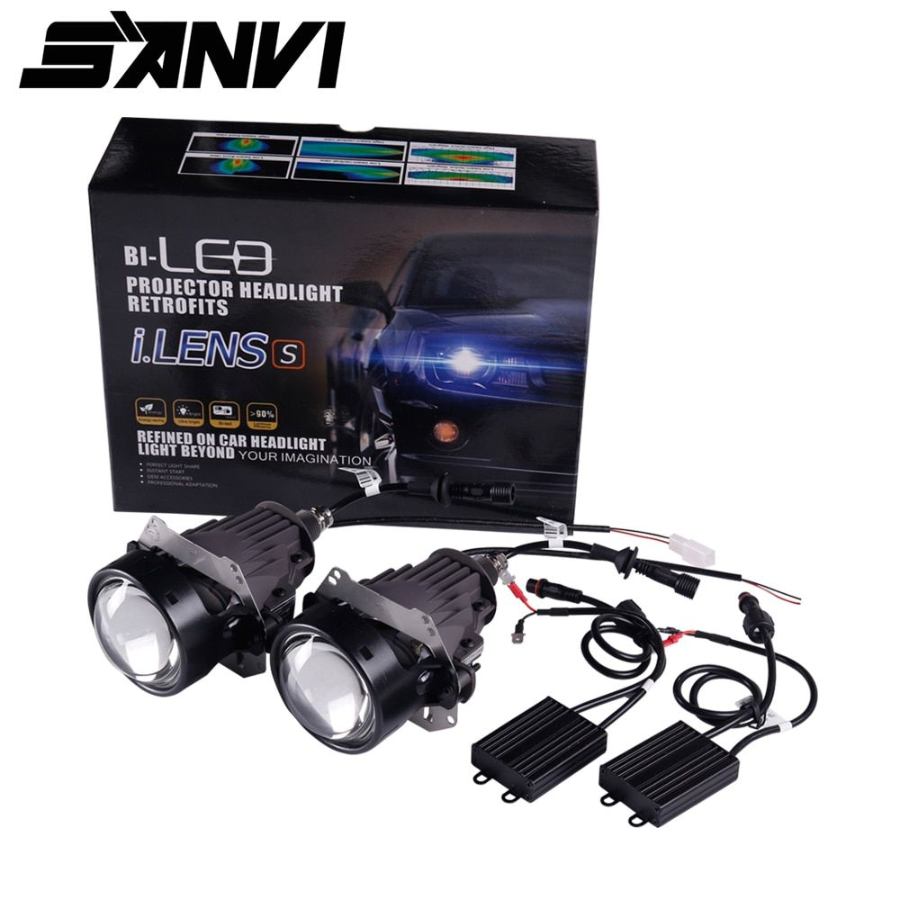 Free Delivery 2pcs Sanvi 35W 5500k High Quality 3inches Super Bright Auto Bi LED Projector Lens Headlight Car light Replacement