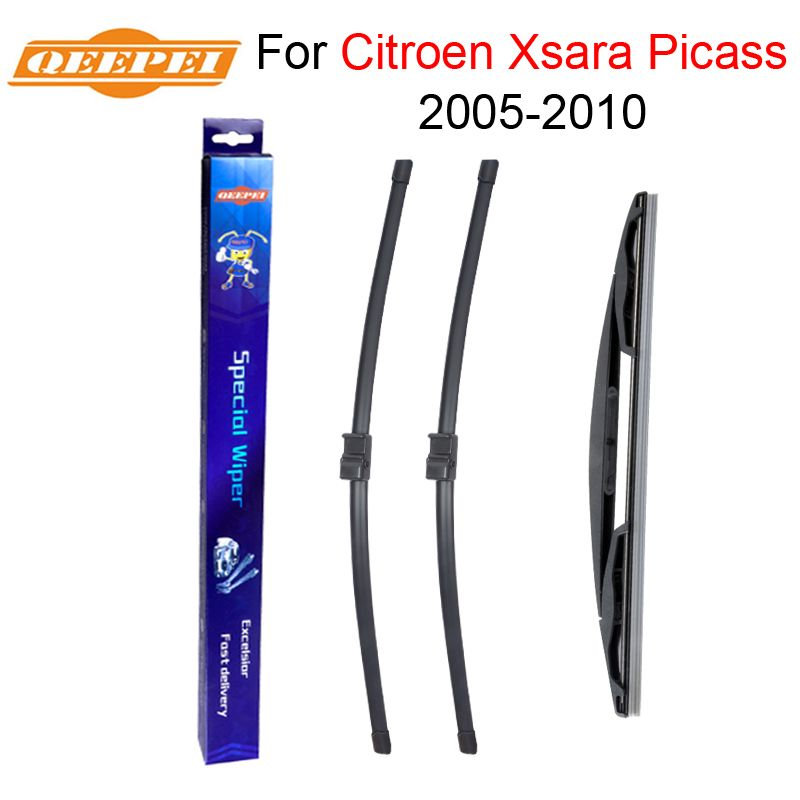 QEEPEI Front and Rear Wiper Blade no Arm For Citroen Xsara Picasso 2005-2010 High quality Natural Rubber windscreen 26''+26''R