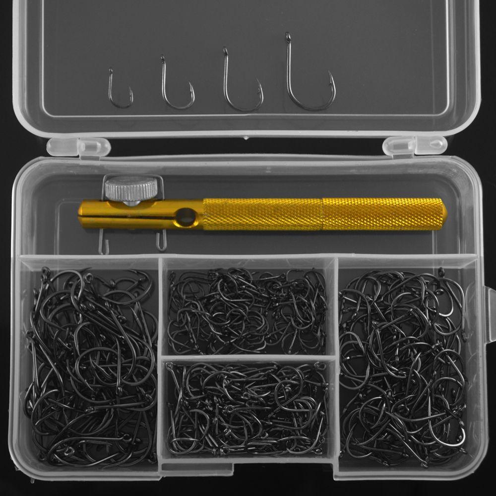 MNFT 350 STÜCKE Barded Karpfen Angelhaken, Kohlenstoffstahl Schwarz Haken + 1 STÜCK Angelhaken Knotting Werkzeug Angelgerät Box Set